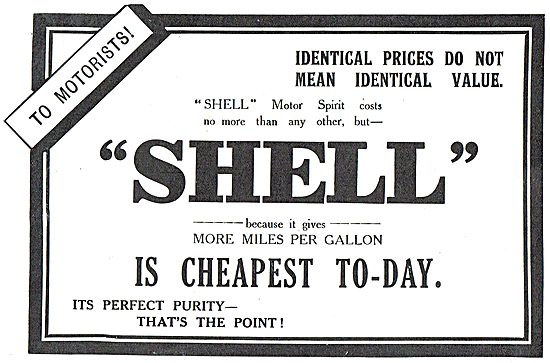 Shell Motor Spirit Will Cost You No More Than Any Other.