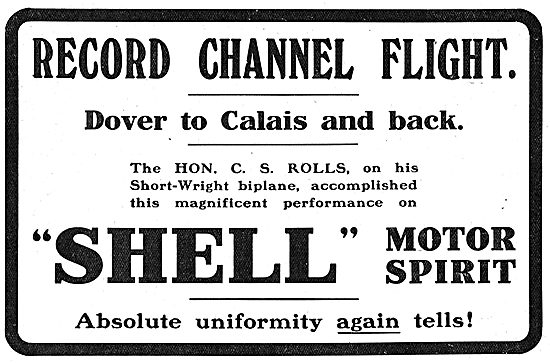 Hon C.S.Rolls Flies Channel On His Short-Wright Biplane On Shell: