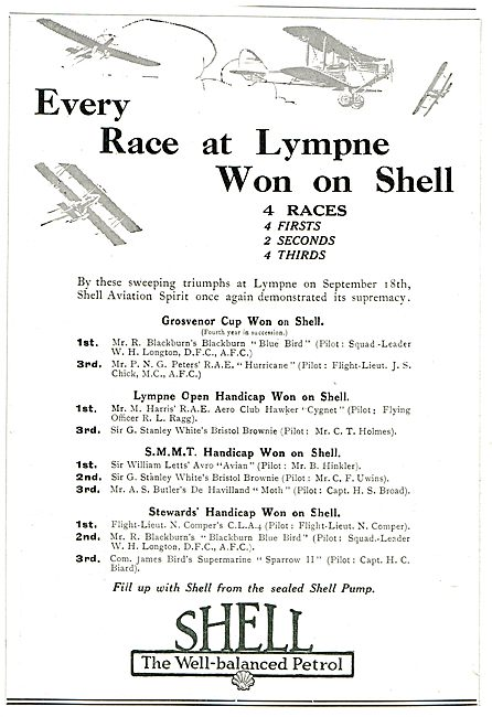 Every Race Won At Lympne On Shell Aviation Spirit