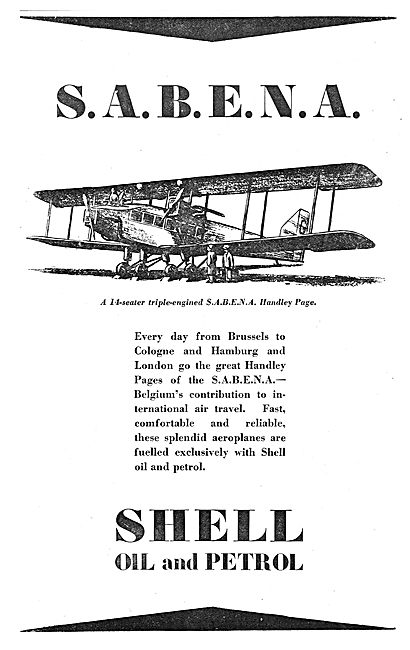 SABENA Choose Shell Petrol For Their Handley Page Aircraft
