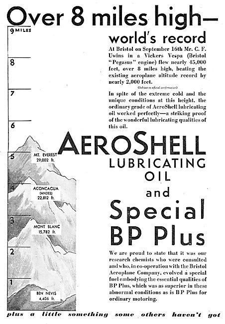 Over 8 Miles High On AeroShell Oil & Special BP Plus