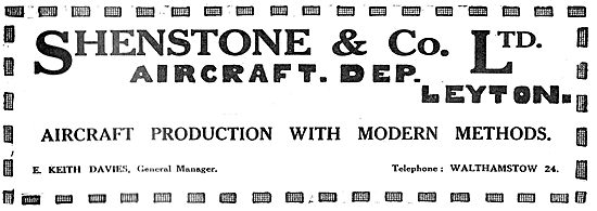 Shenstone & Co Ltd. Leyton. -  Aeronautical Engineers