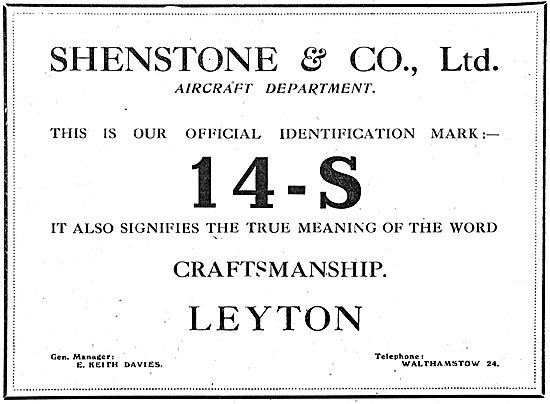 Shenstone & Co Ltd.   Aeronautical Engineers