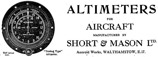 Short and Mason Altimeters For  Aircraft