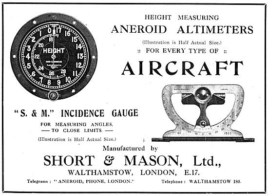 Short & Mason Aircraft Instruments 1918