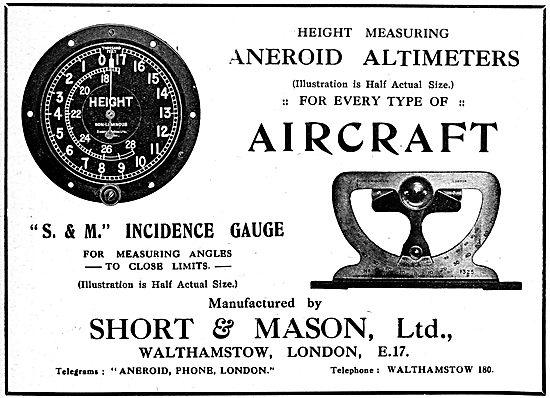 Short & Mason S.&M. Incidence Gauge.  S.&M. Altimeter