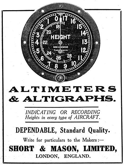 Short & Mason Aircraft Instruments - Altimeters & Altigraphs