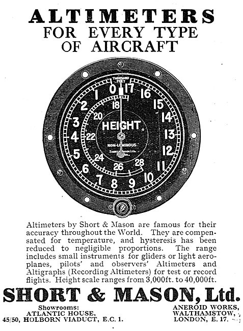 Short and Mason Altimeters For Every Type Of Aircraft