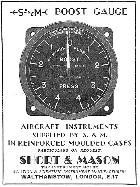 Short and Mason Aircraft Instruments - Engine Boost Gauge
