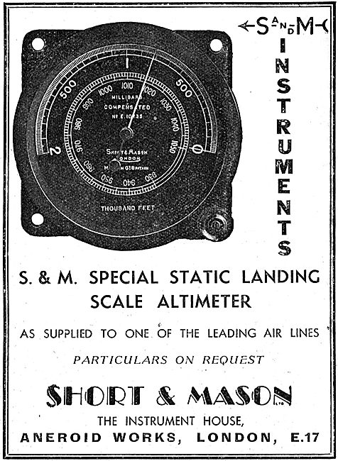 Short and Mason Static Landing Scale  Altimeters