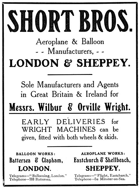 Short Brothers. Aeroplane & Balloon Manufacturers