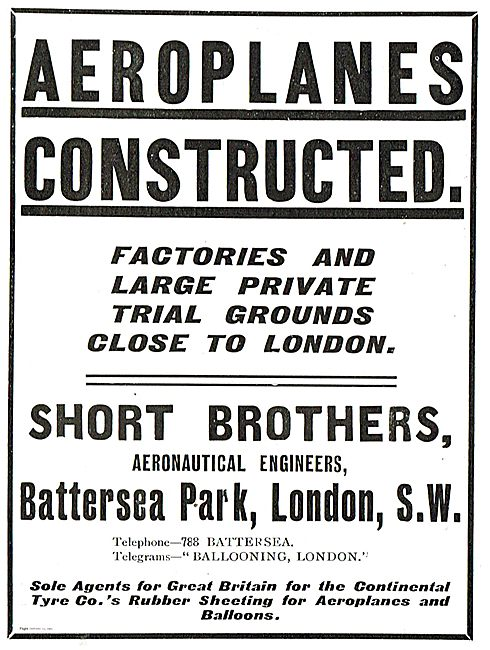 Short Brothers: Aeroplanes Contstructed. Battersea Park London SW