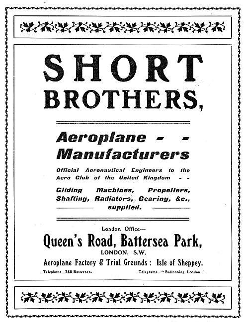 Short Brothers. Aeroplane Manufacturers & Aeronautical Engineers