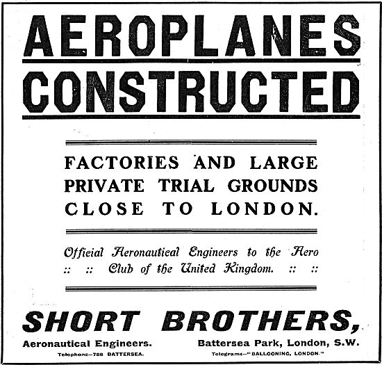 Short Brothers Aeroplane Construction - Factories & Flying Ground