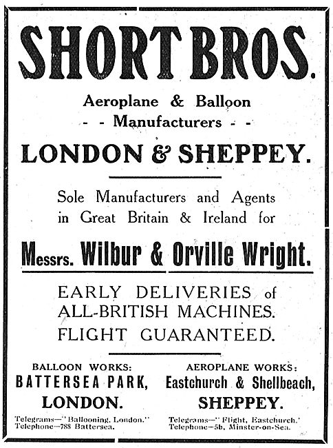 Short Brothers Aeroplane & Balloon Manufacturers. London  Sheppey