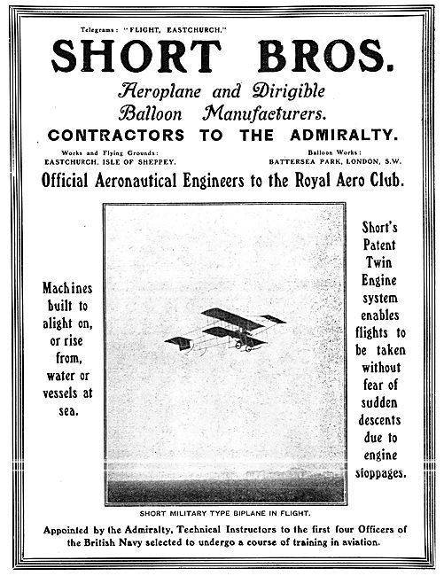 Short Brothers Aeroplane, Dirigible & Ballon Manufacturers