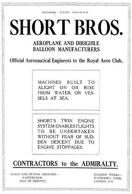 Short Brothers Aeroplanes 1911