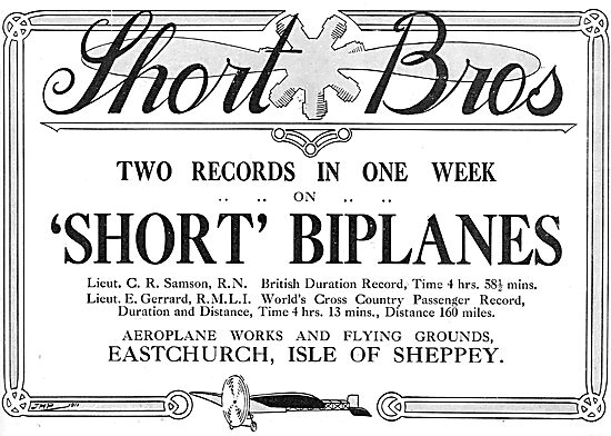 Short Brothers Biplanes 1911