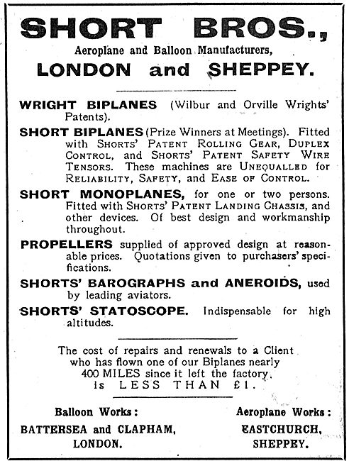 Short Brothers Aeroplane Manufacturers. London & Sheppey