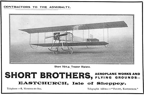 Short Brothers Short 70hp Tractor Biplane: Eastchurch