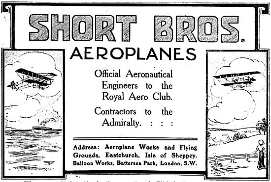 Short Brothers Aeroplane. Eastchurch & Isle Of Sheppey