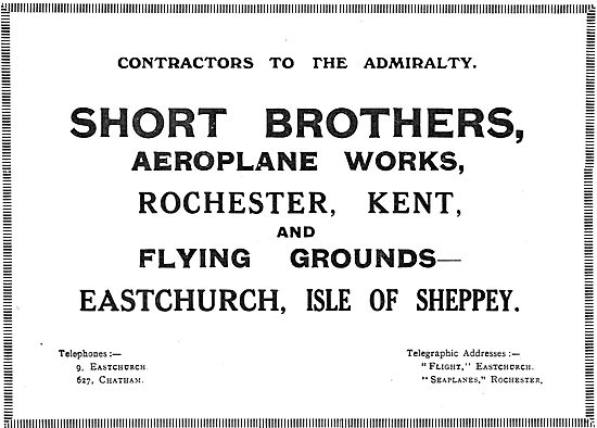 Short Bros Aeroplane Works - Rochester, Kent.