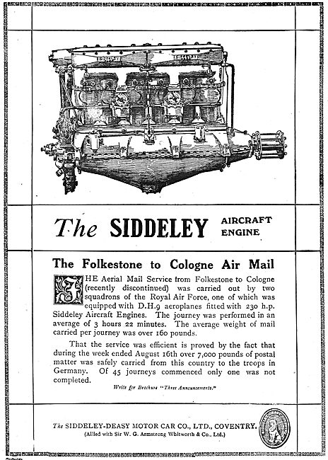 Siddeley-Deasy Engines For The Folkestone To Cologne Air Mail