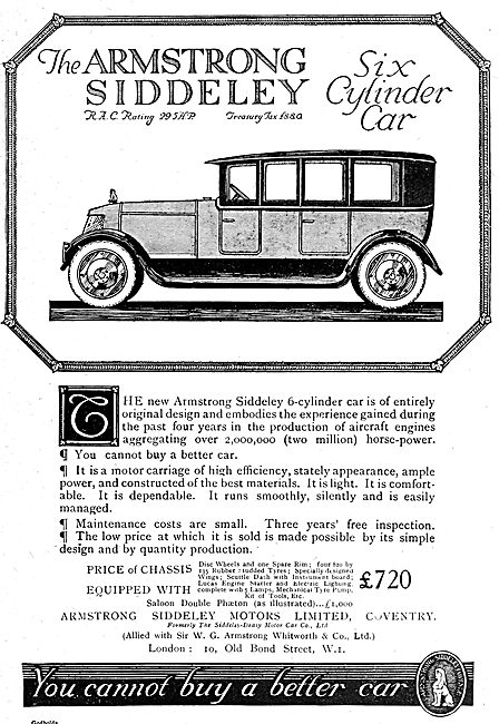 Armstrong Siddeley Motor Cars 1919