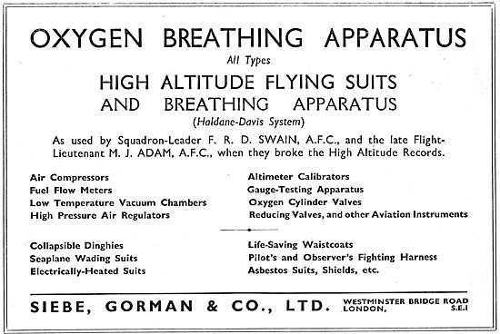 Siebe Gorman Safety Equipment, Oxygen Equipment & Instruments