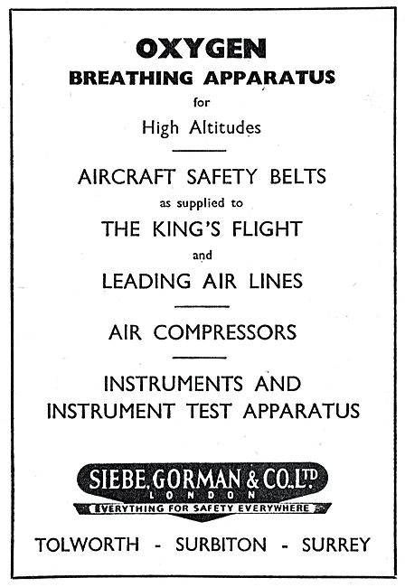 Siebe Gorman Safety Equipment, Oxygen Equipment & Instruments