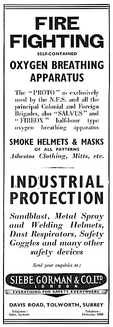 Siebe Gorman Fire Fighting Oxygen Breathing Apparatus 1947