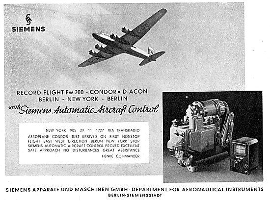 Siemens Automatic Aircraft Control. Autopilot 1938
