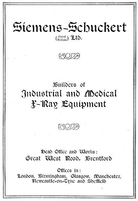 Siemens-Schuckert (Great Britain) Industrial X-Ray Equipment 1942