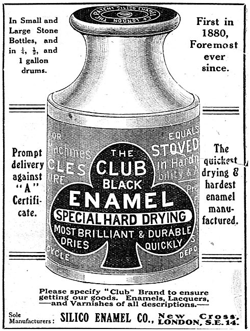 Silico Enamel Co - CLUB Brand Hard Drying Enamels - 1918 Advert