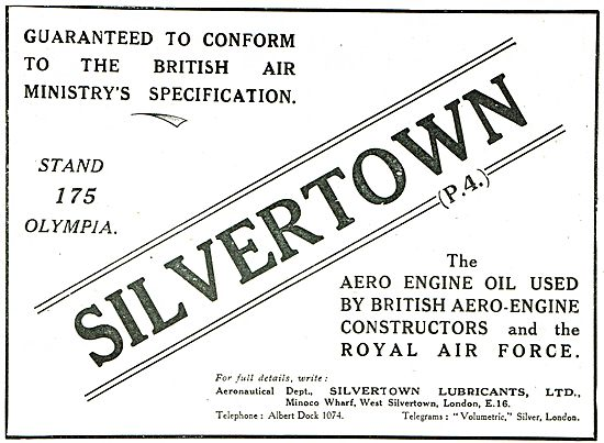 Silvertown Air Ministry Approved Aero Engine Oils
