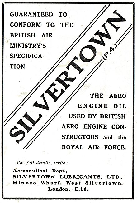 Silvertown Aero Engine Oil Is Used By The Royal Air Force