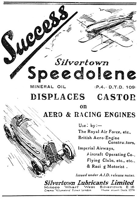 Silvertown Aero Engine Oil Displaces Castor Oil On Racing Engines