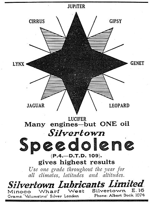 All These Aero Engines Use Silvertown Speedolene  Aero Engine Oil