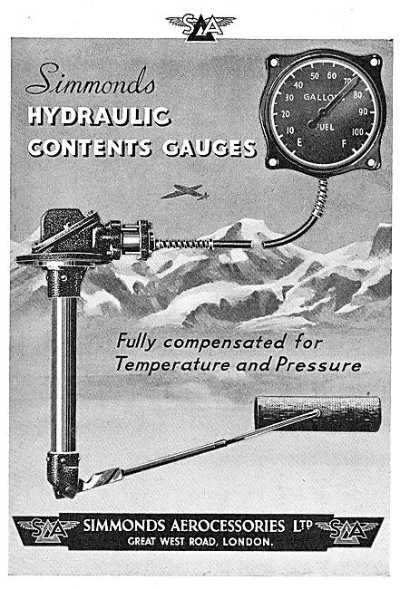 Simmonds Aerocessories : Hydraulic Contents Gauges
