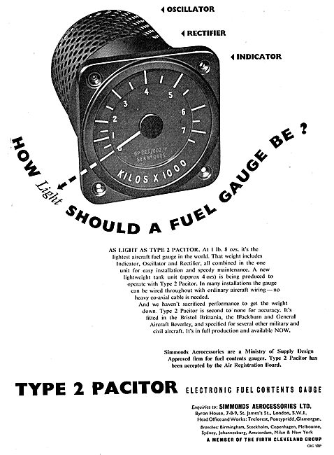 Simmonds Aerocessories Pacitor Electronic Fuel Contents Gauge
