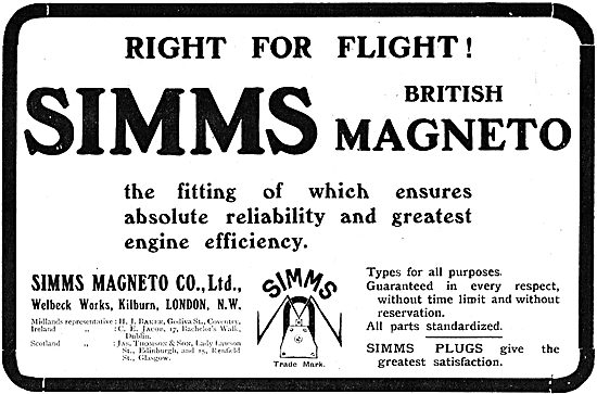 Simms Magneto Co. Magnetos For Aeroplane Engines