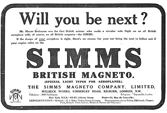 Moore-Brabazon Wins Daily Mail Prize  Using Simms Magnetos