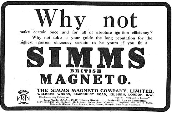 Absolute Ignition Efficiency With Simms Aeroplane Magnetos.
