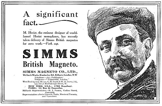 M.Bleriot Has Taken Delivery Of Simms Magnetos For Aero Work