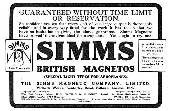 Simms Aeroplane Magnetos Are Guaranteed.