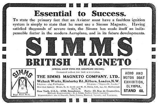 Simms British Aeroplane Magnetos Essential To Success