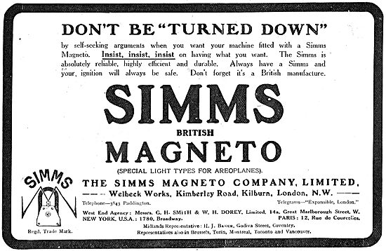 Insist On Simms Magnetos For Your Aeroplane