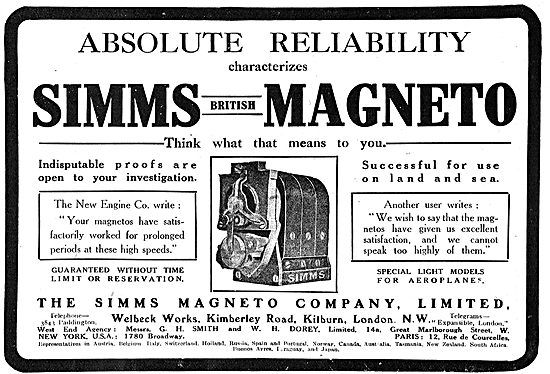 Simms Magnetos For Absoloute Reliability.
