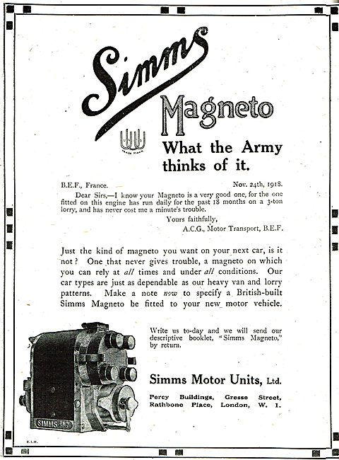 Simms Aero Engine Magnetos