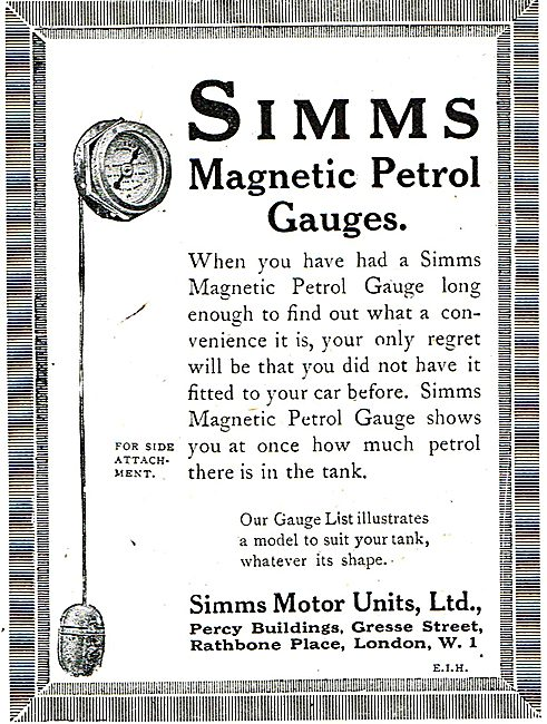 Simms Magnetic Petrol Gauges For Aircraft